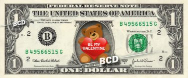 Teddy Bear I Love You Valentine Bear - Real Dollar Bill Cash Money Collectible
