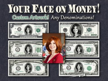Your FACE on MONEY - Digital Artwork ONLY - Dollar Cash Personalized Customized 100 500 bill