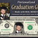 Personalized GRADUATION GIFT - Your Face AND Name on REAL DOLLAR BILL Cash Money