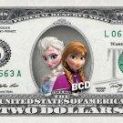 Elsa & Anna Frozen - Real $2 Dollar Bill Disney Cash Money Collectible Memorabilia Celebrity Novelty