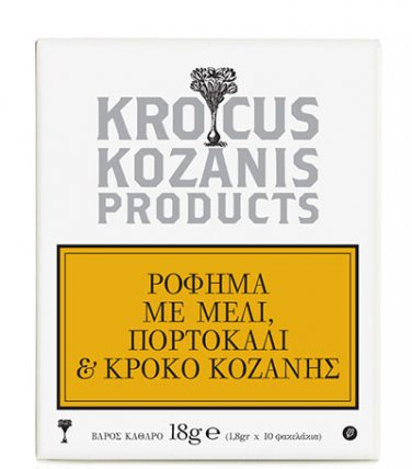 Krocus Kozanis Organic Herbal Tea � with HONEY, ORANGE AND SAFFRON 10 Tea Bags