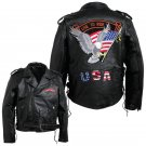 Diamond Plate™ Medium Men's Hand-Sewn Pebble Grain Genuine Buffalo Leather Jacket