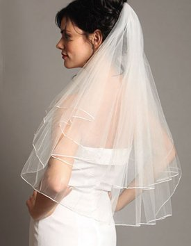 NEW Bridal Wedding VEIL - White or Ivory, 2 Layers, Elbow Length, Pencil Edge