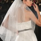 NEW Bridal Wedding VEIL - White or Ivory, 2 Layers, Fingertip Length, Pencil Edge