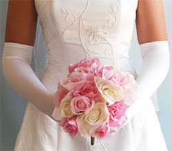 White Above Elbow Bridal Wedding Gloves