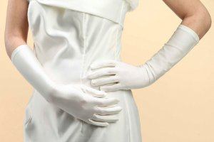 White Satin Below the Elbow Bridal Wedding Gloves
