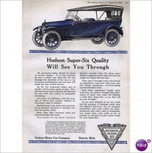 Hudson Super Six automobile 1918 full page color ad E108
