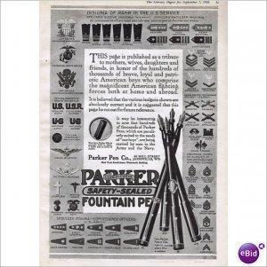 Parker Fountain Pen Co Janesville, Wi 1918 full page ad E109