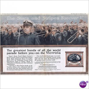 Lt. John Philip Sousa & The United States Naval Band Victor Victrola 1918 double page color ad E110