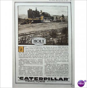 Caterpillar WWI General Pershing 1918 full page color ad E116