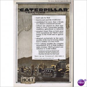 World War I Caterpillar 1918 full page ad by McCarthy Peoria, Illinois E115