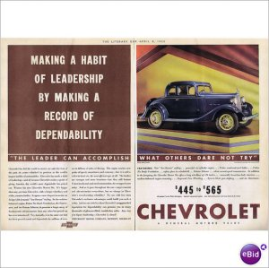 Chevrolet Master Coupe 1933 double page color ad E102