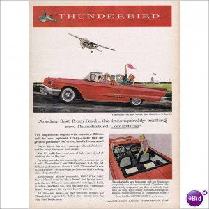 Ford Thunderbird 1958 full page color ad E123