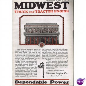 Midwest Truck Tractor Engine 1920 1 page color ad E126