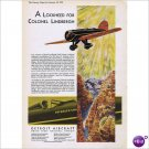 Colonel Lindbergh Lockheed 1930 full page color ad E129