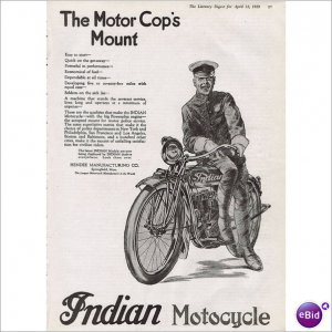 Indian Motorcycle & Motorcycle cop Hendee Mfg C0 1919 1 page ad E133