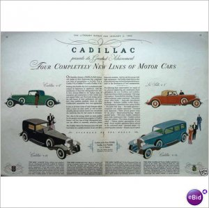 4 models 1932 Cadillac V12 V8 double page color ad E154