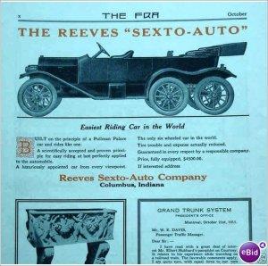 A rare vintage ad 1912 Reeves Sexto Auto Columbus Indiana E164