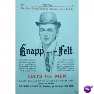 1910 Knapp felt derby hat full page one color ad  E167