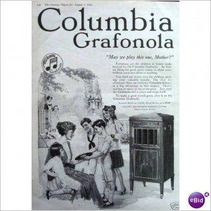 Columbia Grafonla mother children 1920 full page ad  E171