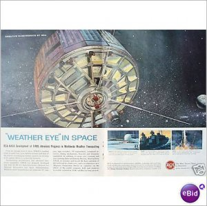 1961 RCA NASA weather eye in space double page color ad E173