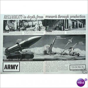 1961 Pershing Sergeant Lacrosse missiles double page ad E174