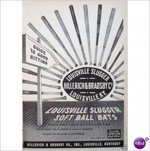 Louisville Slugger bats 1957 full page ad E195