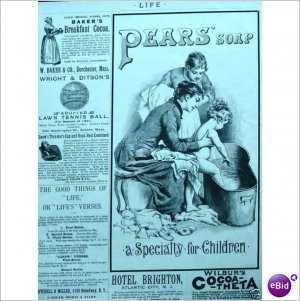 Pears Soap cute little girl Mom nanny 1888 ad E198