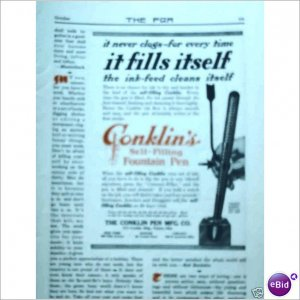 Conklins self filling fountain pen 1912 one color ad  E200