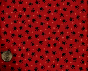 Heart Shape Dog Paw black Polka Dots on red Cotton Fabric FQ