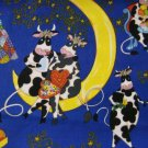 Valentine Cows on a moon Cotton Fabric FQ -rare