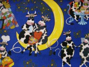 Valentine Cows on a moon Cotton Fabric FQ -rare