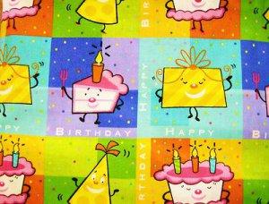 Happy Birthday, Cake, Gift, squares, blocks Fabric FQ