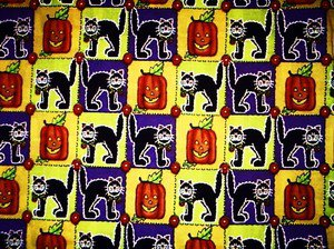 Halloween Cats, Pumpkin squares Fabric FQ