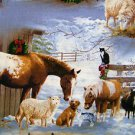 CHRISTMAS FARM ANIMALS Horses Fabric FQ