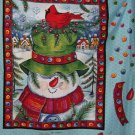 Snowman with birdnest  fabric panel