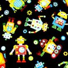 Robots on black Kids Fabric FQ