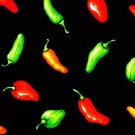 Hot chili peppers on black fabric FQ