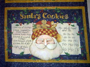 CHRISTMAS Santa's Cookies Fabric Pillow panels
