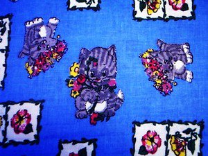 Kitty Cats vintage cotton Fabric 1 yd.