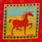 Wild Cinnamon Pony Fabric Block Panel Horse