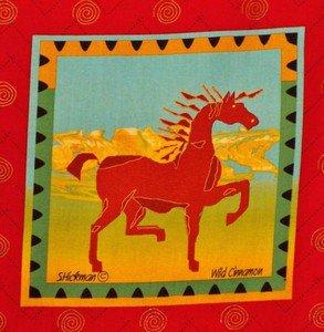 Wild Cinnamon Pony Fabric Block Panel Horse