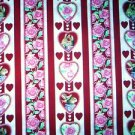 Valentine Rabbits & heart stripe Fabric FQ -  Woodrow