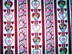 Valentine Rabbits & heart stripe Fabric FQ -  Woodrow