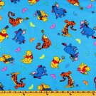 Disney  Pooh and friends on blue Fabric FQ