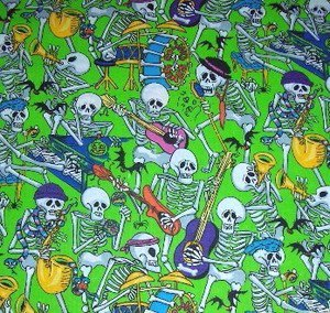 Musical Skeletons  ROLLING BONES Fabric FQ