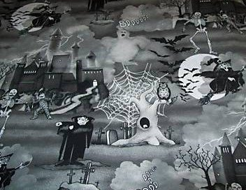 Halloween Witch Dracula castle spiders Fabric FQ- glitter