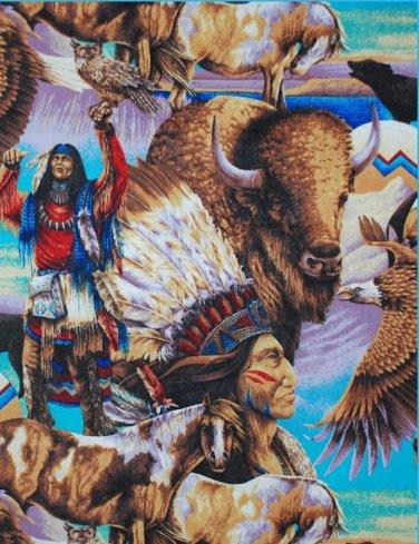 Indian Native American Buffalo Eagle Horse Cotton fabric FQ Fat Quarter
