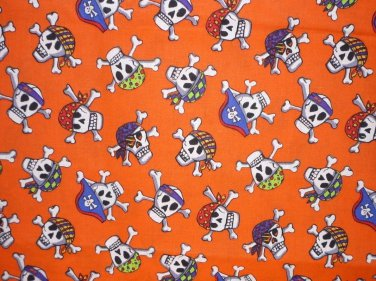 Halloween Pirate Skulls crossbones Fabric FQ Fat Quarter - kids