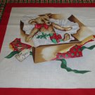 Christmas Bear in gift box fabric pillow Panel